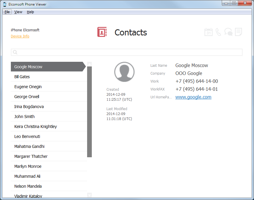 Elcomsoft Phone Viewer: Contacts